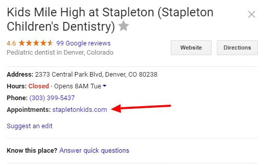 Google My Business Appointment Link Example