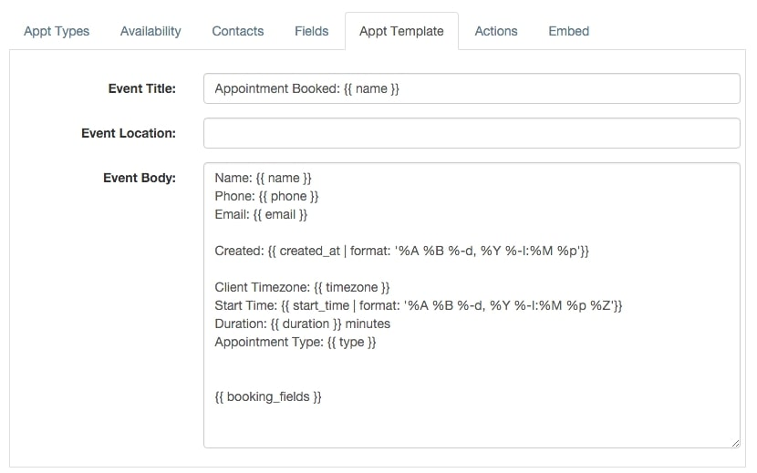 apptoto appointment template