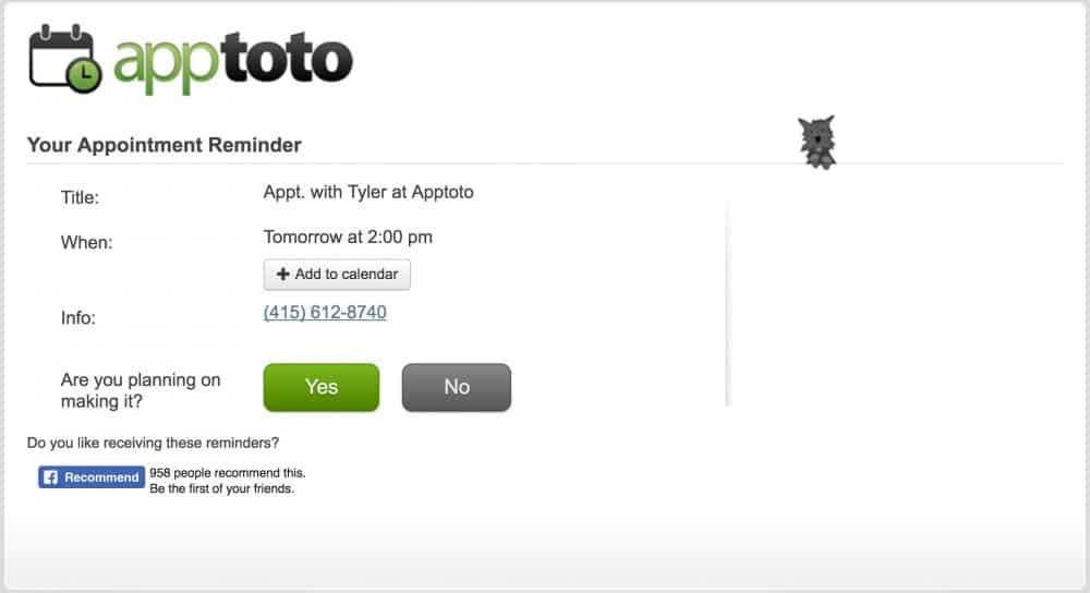 apptoto appointment page desktop