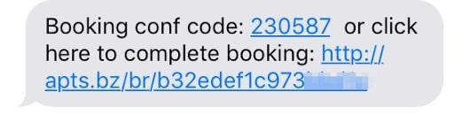 apptoto booking conf code