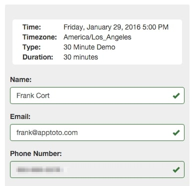 apptoto booking details filled out