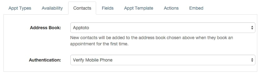 apptoto booking page contacts