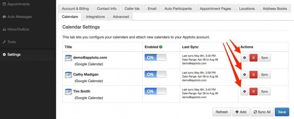 apptoto calendar settings