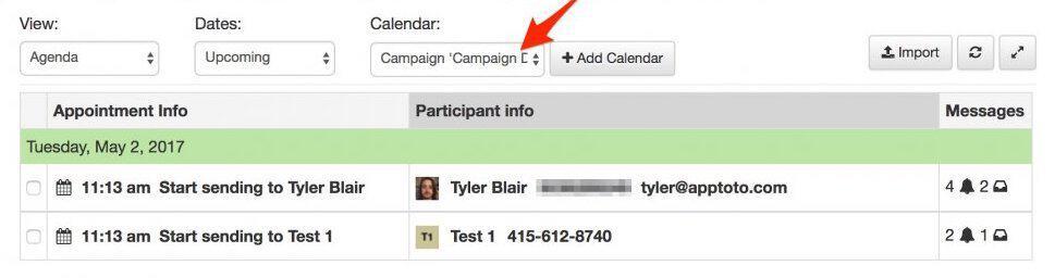 apptoto campaign calendar