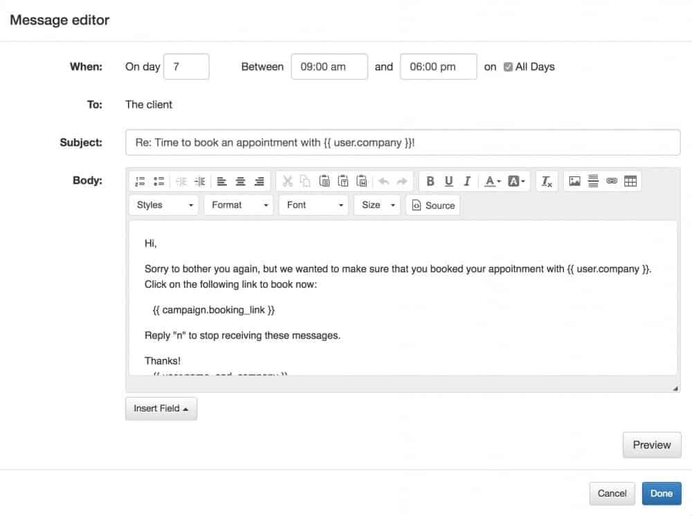 apptoto campaign message editor