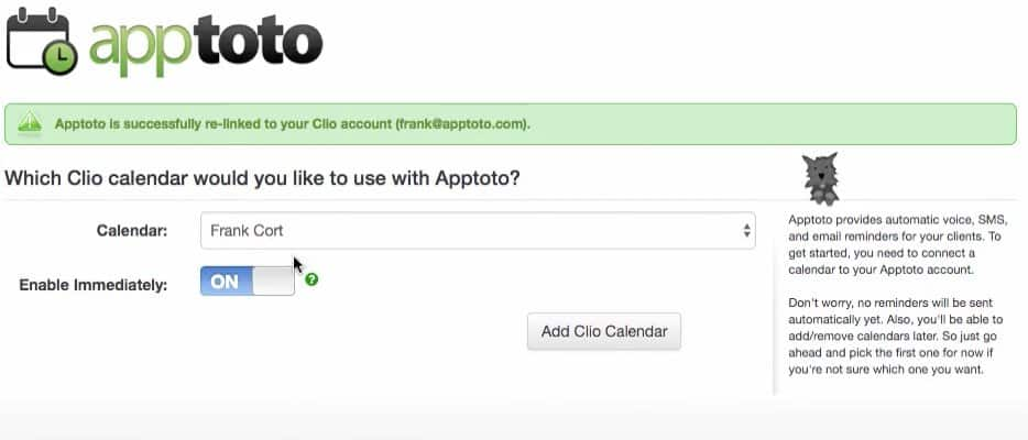 Apptoto Clio additional calendars