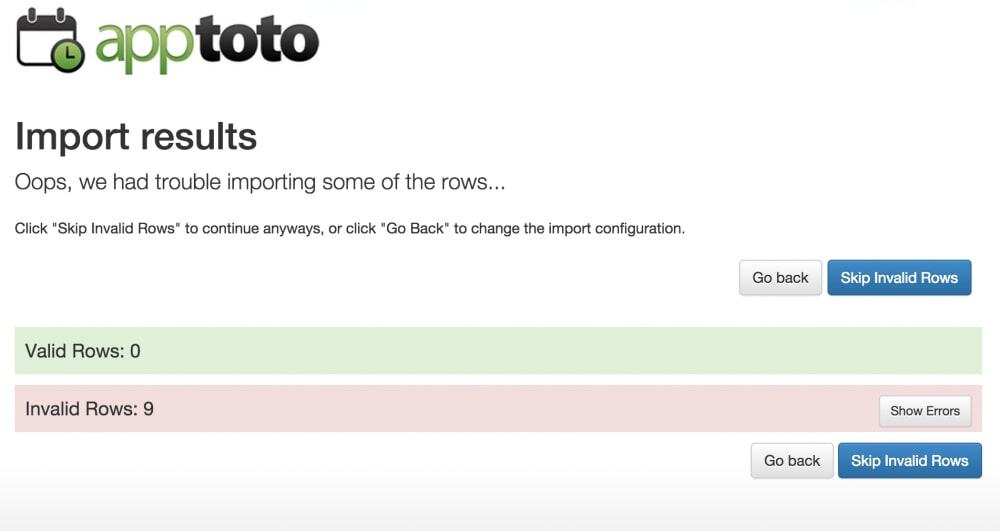 Apptoto data import by CSV