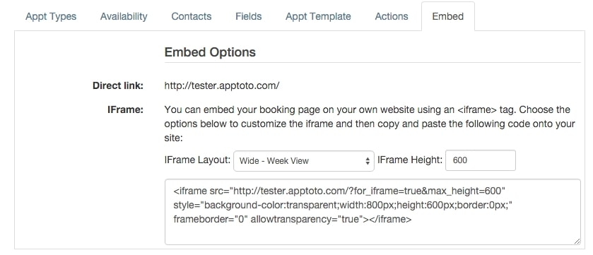 apptoto embed options