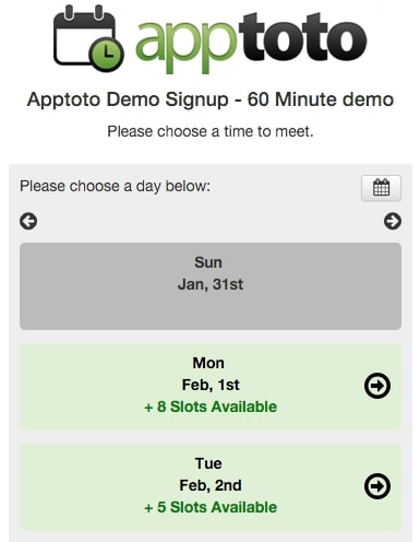 apptoto example mobile view