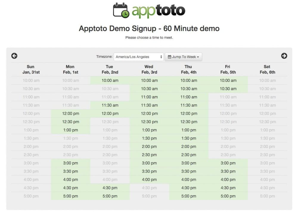 apptoto example week view