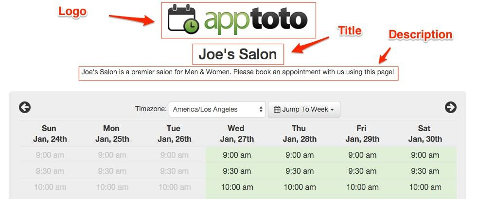 apptoto joe's salon example booking page