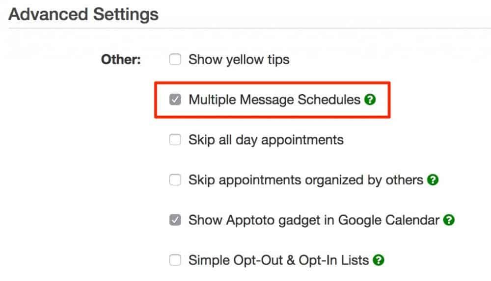 apptoto multiple schedule checkbox