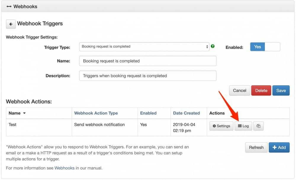 apptoto webhook log button