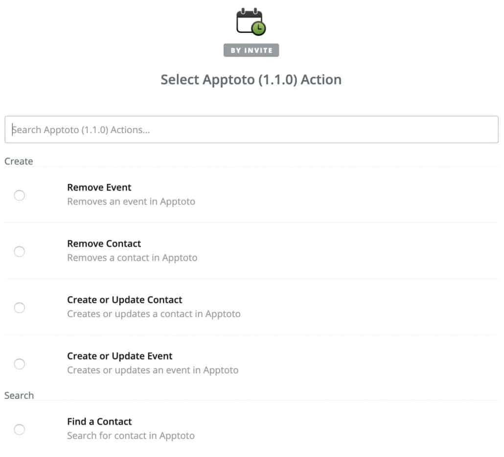 Apptoto Zapier actions