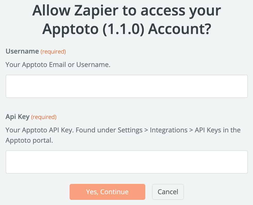 Apptoto Zapier connect