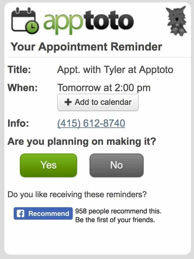apptoto appointment page mobile