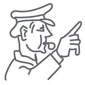 Officer blowing a whistle