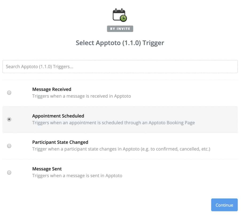 "Set trigger to ""Appointment Scheduled"" in Apptoto"