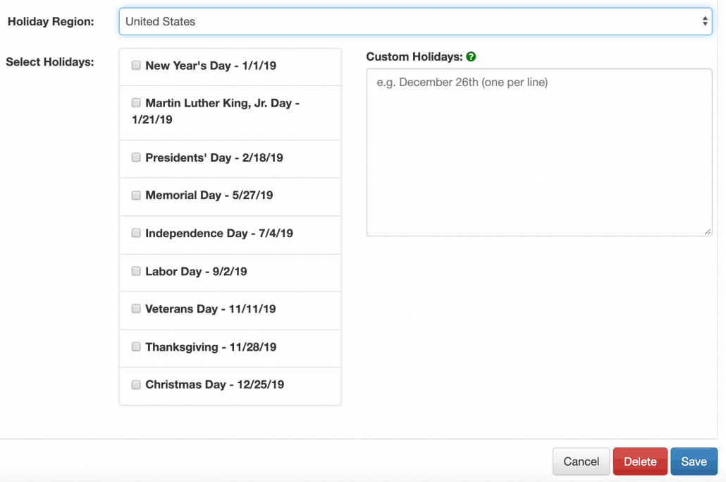 Check list for federal holidays