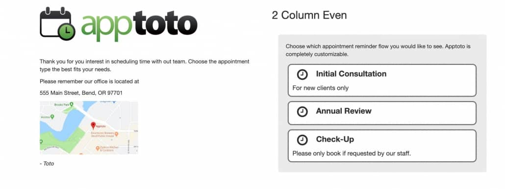 Example of a 2 Column Even booking page layout